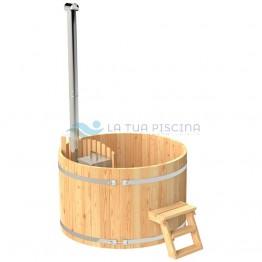 Ciubar din lemn molid cu soba interioara aluminiu 27kW diametrul  1,6 m