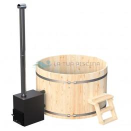 Ciubar din lemn molid cu soba exterioara aluminiu 27 kW diametrul 1,6 m