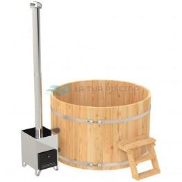 Ciubar din lemn molid cu soba exterioara inox diametrul  1,6 m (5-6 pers.)