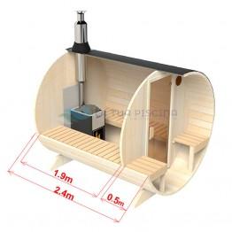Sauna exterioara tip butoi lungime 2,4m Ø 2,0m cu banca exterioara molid