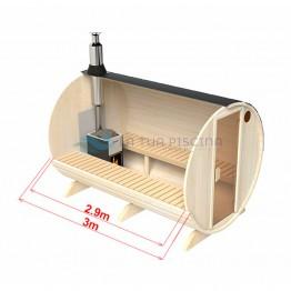 Sauna exterioara tip butoi lungime 3m Ø 2,0m molid soba pe lemne